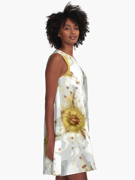 'Absolutely Bridal' ~ 'Vintage Inspired White Flowers' A-Line Limited Edition Summer Dress - Tru-Artwear.ca
