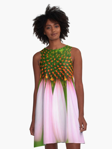 'Pink Gaillardia' A-Line Summer Dress - Tru-Artwear.ca
