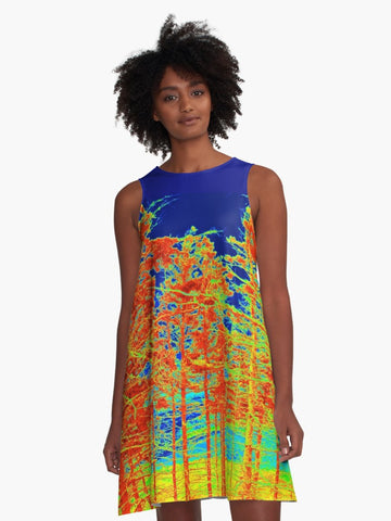 'Red Trees Canada' A-Line Summer Dress - Tru-Artwear.ca
