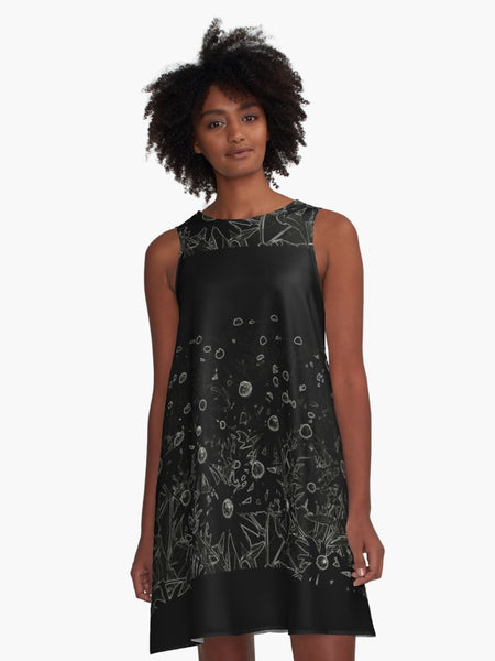 'Flowers at Midnight' A-Line Limited Edition Summer Dress - Tru-Artwear.ca
