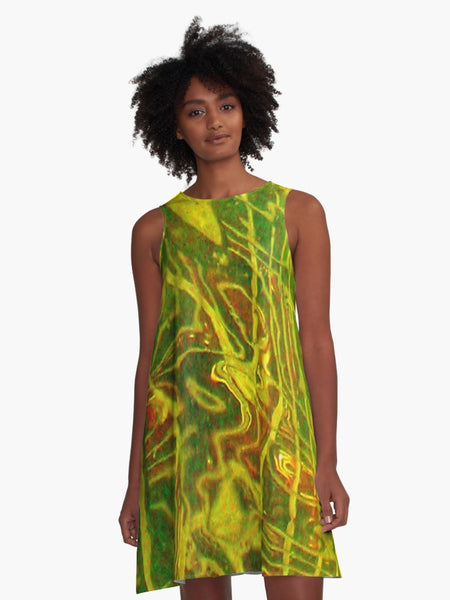 'Green Red Water' A-Line Limited Edition Summer Dress - Tru-Artwear.ca