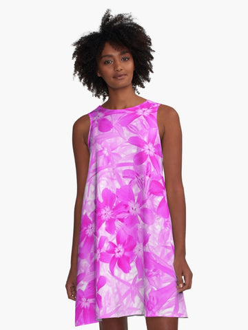 'Pink Flox' A-Line Summer Dress - Tru-Artwear.ca