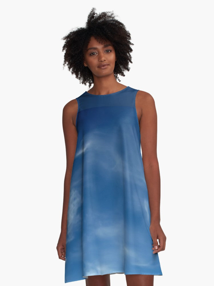 'Blue Sky' A-Line Limited Edition Summer Dress - Tru-Artwear.ca