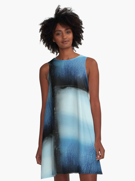 'Noir Bleu Dusk' A-Line Fair Weather Dress - Tru-Artwear.ca