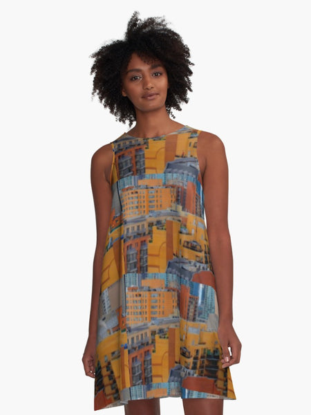'Urbanization' A-Line Limited Edition Summer Dress - Tru-Artwear.ca