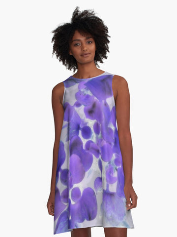 'Purple Water Plant' A-Line Summer Dress - Tru-Artwear.ca