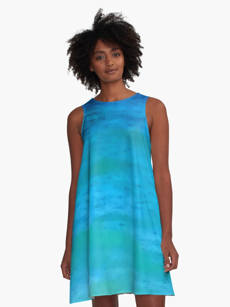 'Water Colours' A-Line Summer Dress - Tru-Artwear.ca