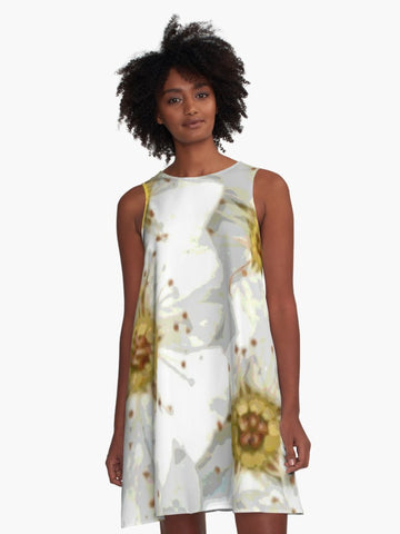 'Vintage Inspired White Flowers' A-Line Summer Dress - Tru-Artwear.ca