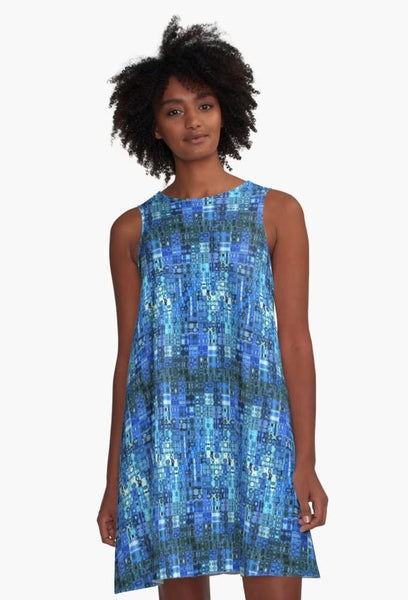 'Blue Mosaic' A-Line Limited Edition Summer Dress - Tru-Artwear.ca