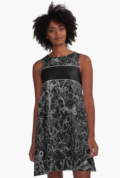 'Black Flox Graphic' A-Line Limited Edition Summer Dress - Tru-Artwear.ca