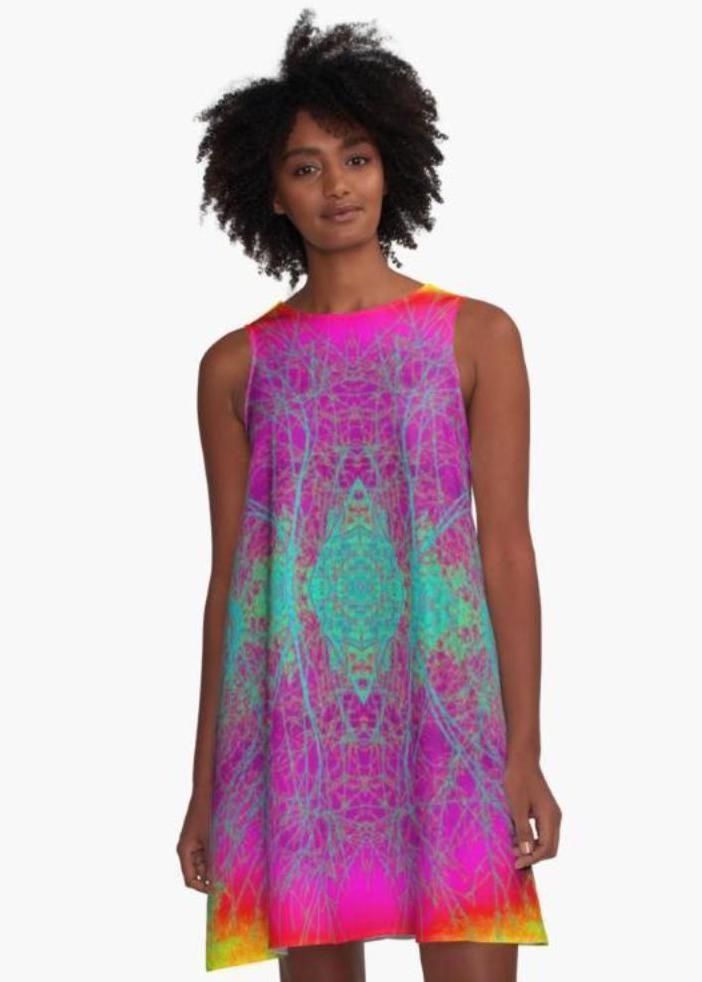 'Boho Nature' A-Line Limited Edition Summer Dress - Tru-Artwear.ca