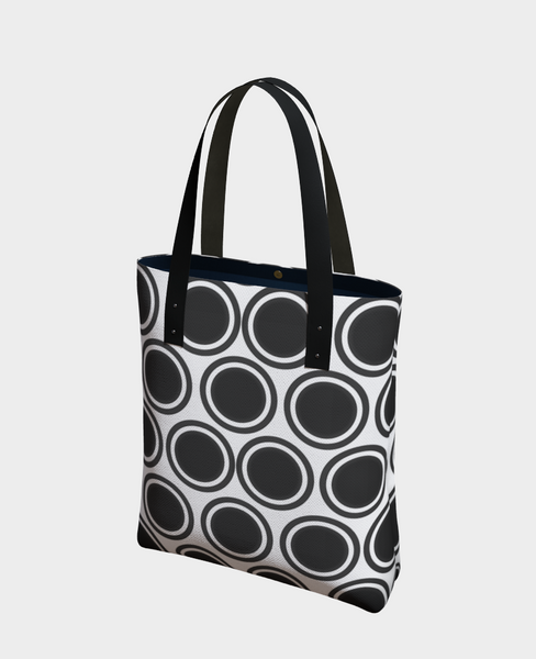 """2 - Black on White Circles"" Urban Tote - Tru-Artwear.ca"