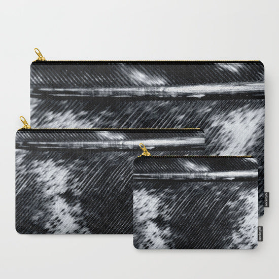 His or Her Travel Set | 'Black and White Feather' Travel Pouch Set - Tru-Artwear.ca