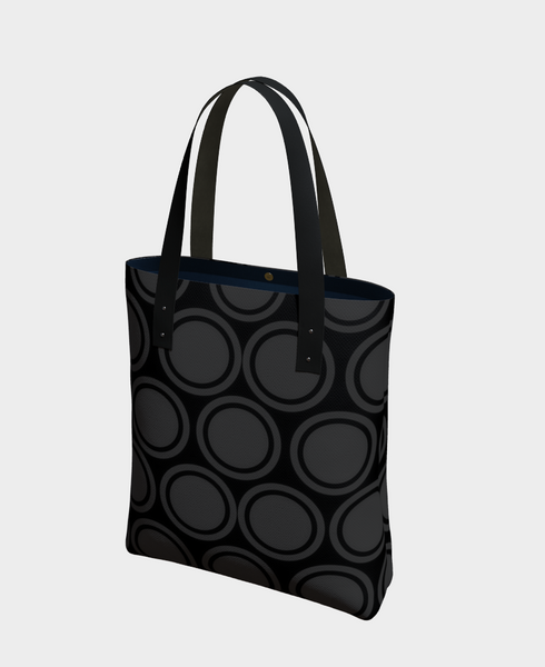 """2 - Black and Grey Circles"" Urban Tote - Tru-Artwear.ca"