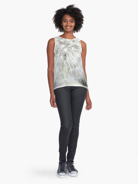 White Dandelion Seed Limited Edition Sleeveless Top - Tru-Artwear.ca