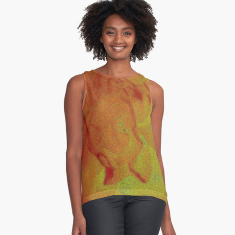 Red Flower Abstract Limited Edition Sleeveless Top - Tru-Artwear.ca
