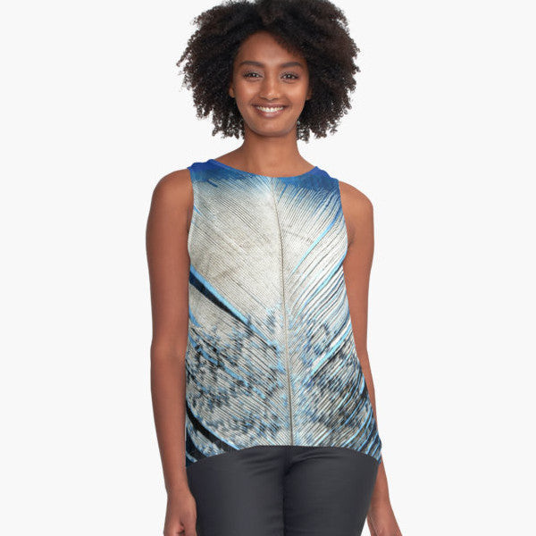 White and Blue Feather Limited Edition Sleeveless Top - Tru-Artwear.ca