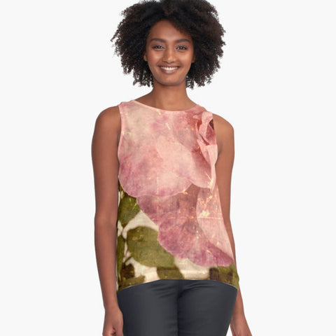 Pink Vintage Rose Limited Edition Sleeveless Top - Tru-Artwear.ca