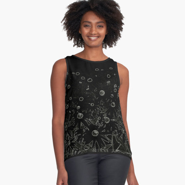 Flowers at Midnight Limited Edition Sleeveless Top - Tru-Artwear.ca