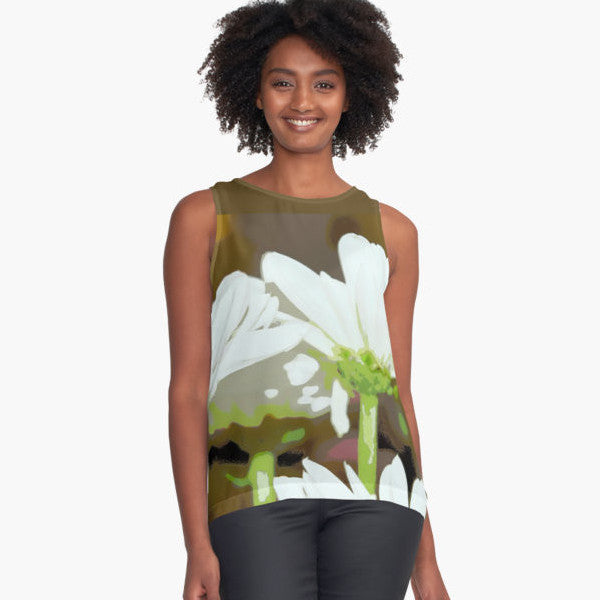 White Daisies Limited Edition Sleeveless Top - Tru-Artwear.ca