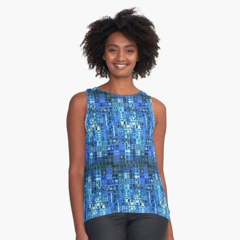 Blue Boho Mosaic Limited Edition Sleeveless Top: Made to Order - Tru-Artwear.ca