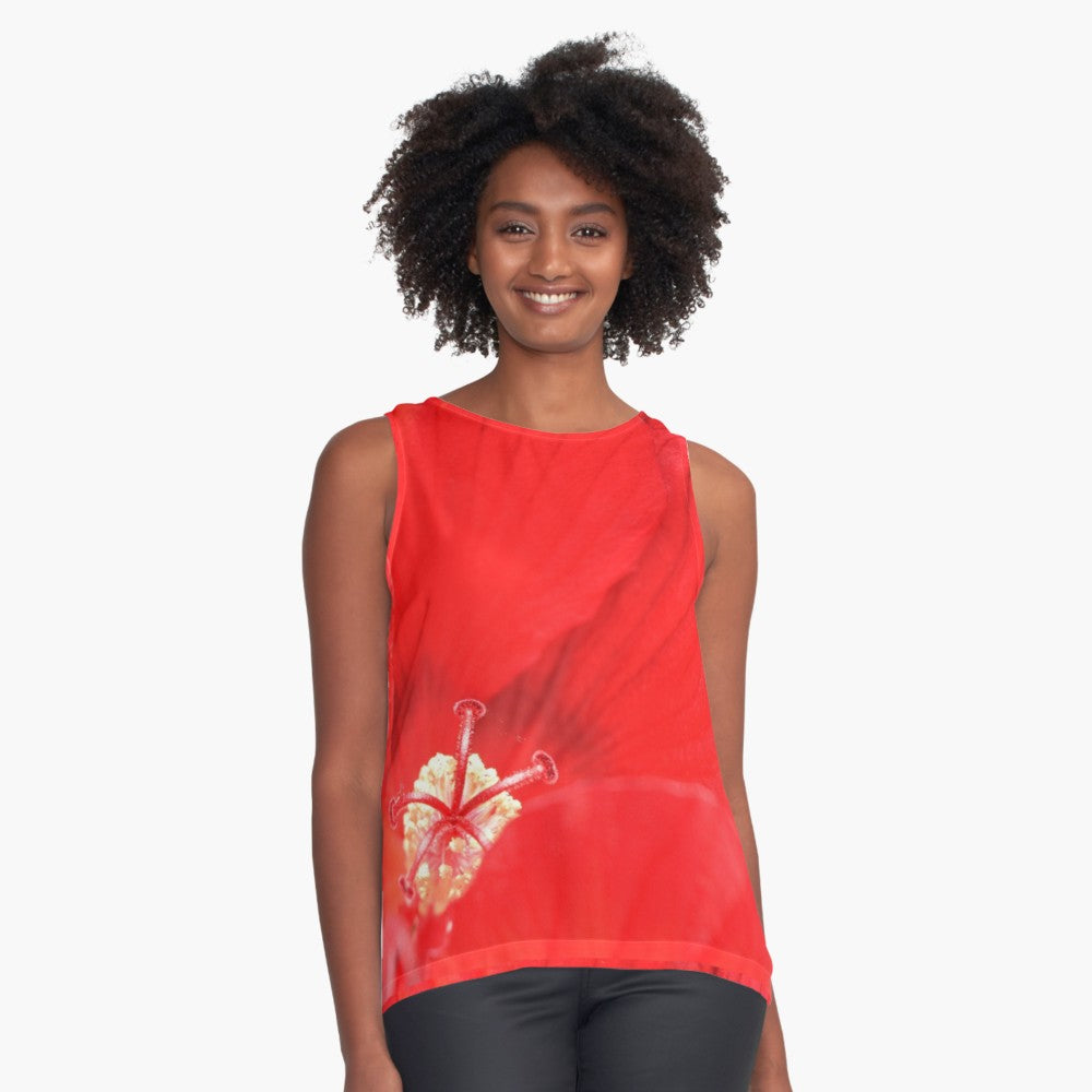 Red Hibiscus Limited Edition Sleeveless Top - Tru-Artwear.ca