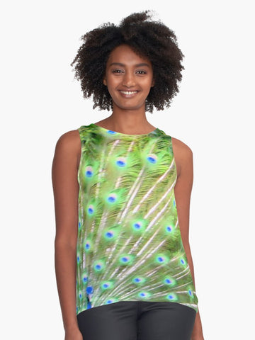'Peacock Feathers' Sleeveless Top - Tru-Artwear.ca