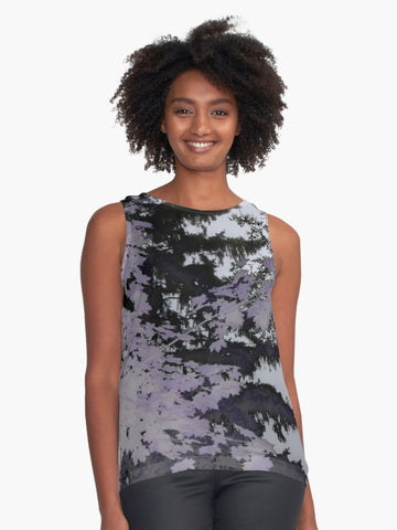 Purple Trees Silhouette Limited Edition Sleeveless Top - Tru-Artwear.ca