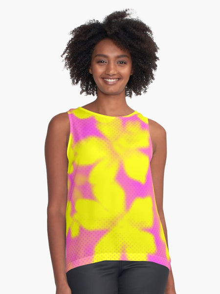 Bright and Big Yellow Flowers Limited Edition Sleeveless Top - Tru-Artwear.ca