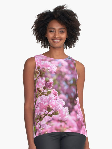 Pink Blossoms Limited Edition Sleeveless Top - Tru-Artwear.ca