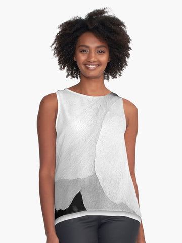 White Petals Limited Edition Sleeveless Top - Tru-Artwear.ca
