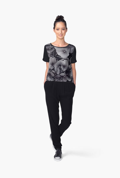1. Chiffon Top Black Hydrangea Limited Edition - Tru-Artwear.ca