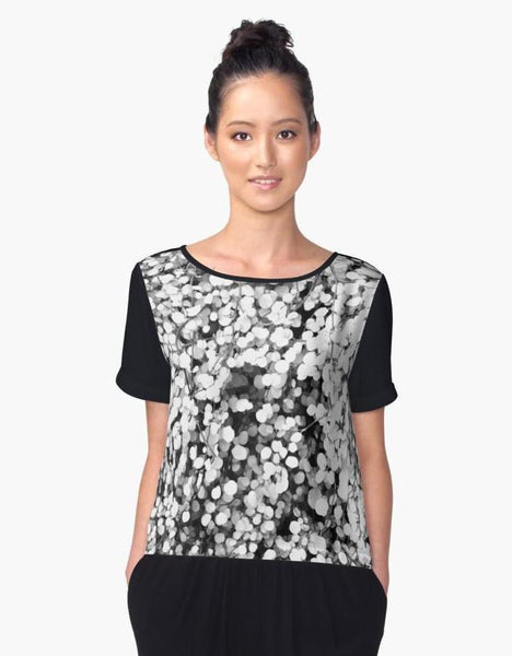 1. Chiffon Top Small Black and White Leaves Limited Edition | Women's Clothing | Streetwear - Tru-Artwear.ca
