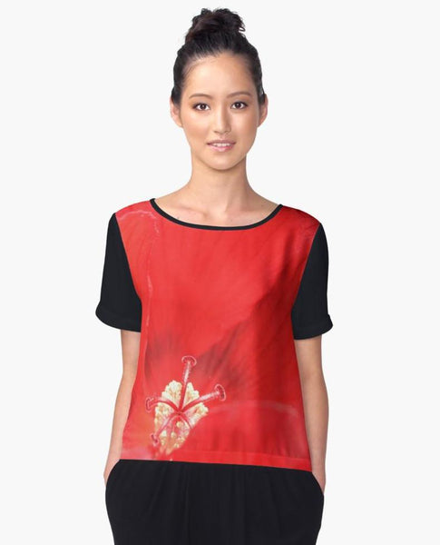 1. Chiffon Top Red Flower Limited Edition | Womens Clothing | Streetwear*** - Tru-Artwear.ca