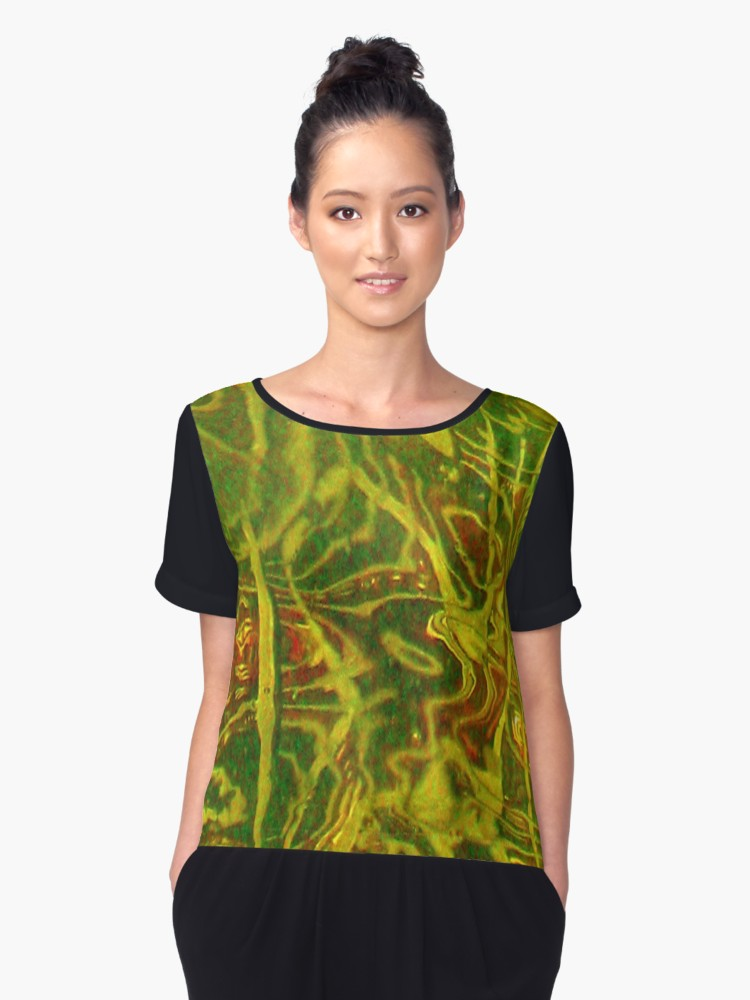 1. Chiffon Top Yellow Green Red Water Abstract Limited Edition - Tru-Artwear.ca