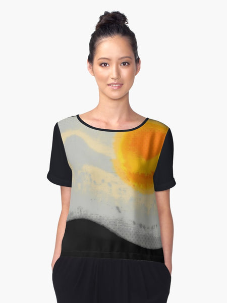 1. Chiffon Top Bright Sunset with Dots Limited Edition - Tru-Artwear.ca