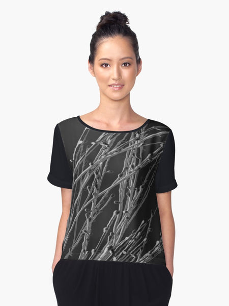 1. Chiffon Top Black Grasses Limited Edition - Tru-Artwear.ca