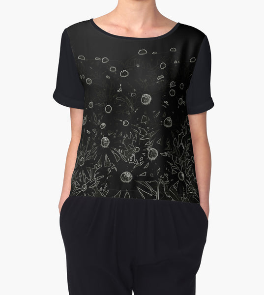 1. Chiffon Top Flowers at Midnight Limited Edition - Tru-Artwear.ca