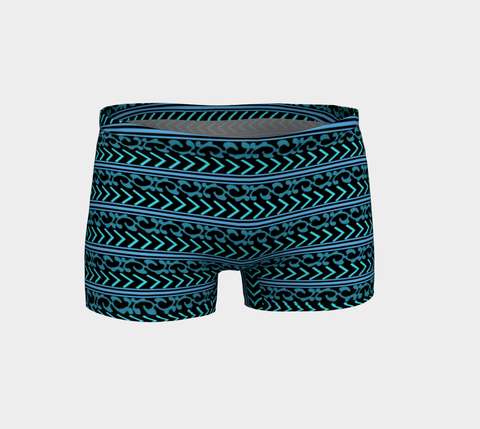 Turquoise and Black Patterned Shorts
