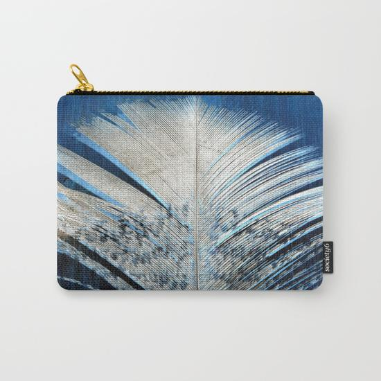 Blue and White Feather Travel Pouch Set - Tru-Artwear.ca
