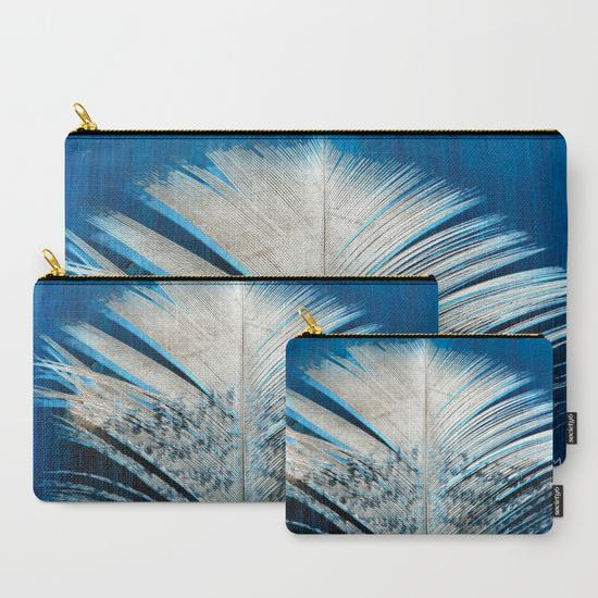 '3. Blue and White Feather' Travel Pouch Set
