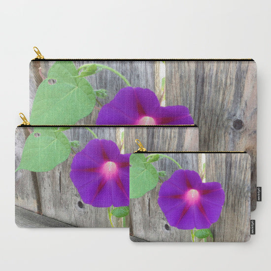 'Purple Flower on Fence' Travel Pouch Set - Tru-Artwear.ca