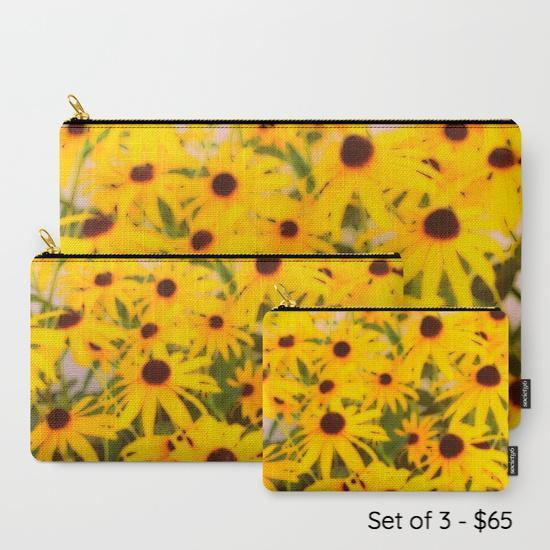 '1. Travel Set | 'Black-Eyed Susans' Travel Pouch Set - Tru-Artwear.ca