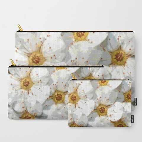 'Vintage Inspired White Flowers' Travel Pouch Set - Tru-Artwear.ca