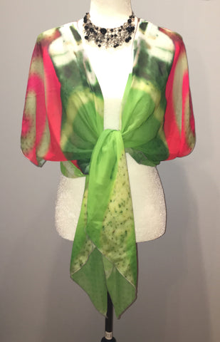 Green Christmas Ornament Draped Fashion Cardigan - Tru-Artwear.ca