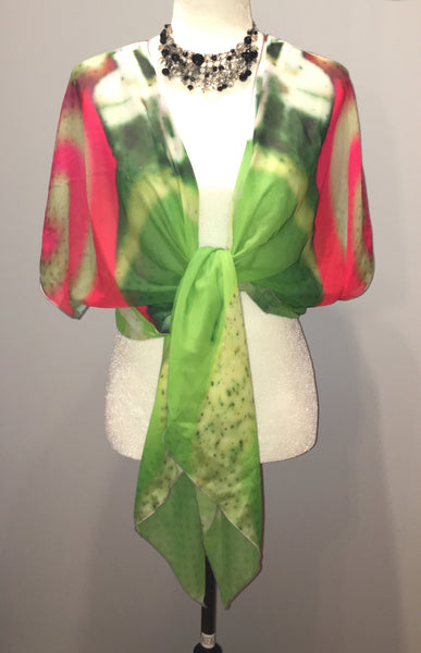 '1. Green Christmas' Ornament Draped Fashion Cardigan - Tru-Artwear.ca