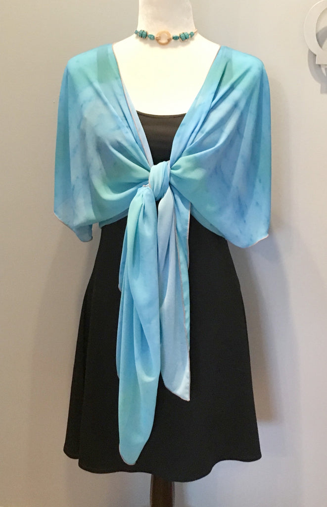 9. 'Blue Water Colours' Draped Kimono Cardigan - Tru-Artwear.ca