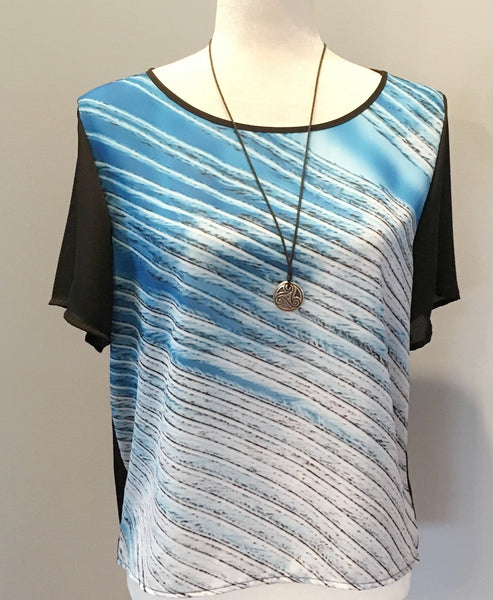 1. Chiffon Top Blue & White Feather | Limited Edition | Womens Clothing | Streetwear*
