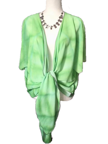 Green Hosta Draped Kimono Cardigan - Tru-Artwear.ca