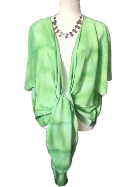 7. 'Green Hosta' Draped Kimono Cardigan - Tru-Artwear.ca